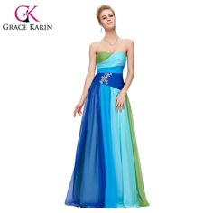 Blue Red Formal Evening Dresses Plus Size Elegant Long Chiffon