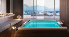 Whirlpool Hydrospa with Ghost System Muse Gruppo Treesse Spas, Sliding Glass Door, Sliding Doors, Jacuzzi Bathroom, Natural Bathroom, Sink Countertop, Luxury Spa, Home Spa, Beautiful Bathrooms