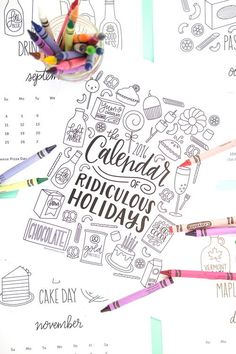 These free and printable coloring pages make one funny calendar.