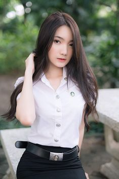Air Hostess Uniform, Cute Girls, Cool Girl, School Uniform Fashion, University Girl, Asian Model Girl, Thai Traditional Dress, Star Girl, Girls Uniforms