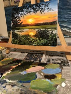Almost completed this painting! #hiltonheadisland #travel #sunset #orange #landscape #painting