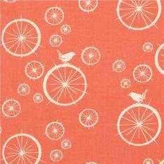 red birch organic fabric Birdie Spokes with wheels bird