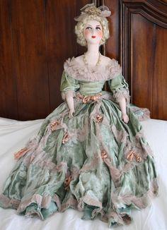 "Large Antique 36"" French Boudoir Bed Doll Bare Shoulders"