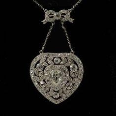 Edwardian fine diamond filigree heart pendant 1910c