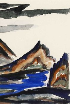 """""""New Mexican Landscape,"""" Frank Applegate, watercolor on paper, 8 1/8 x 5 3/4"""", private collection."""