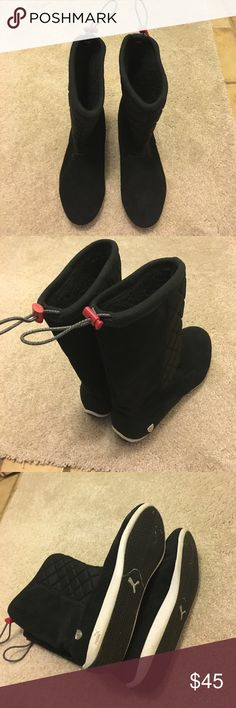 Puma Ferrari femoto athletic boots Great condition, wear once. very comfortable, black suede leather, lined interior. Adjustable top. Puma Shoes Ankle Boots & Booties