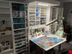 """A crafting room we're currently dreaming of! Wow! 🙌🏻 Charlene HR working on """"Santorini A Colori"""" by Guido Borelli Glow Effect, Diamond Paint, Tool Kit, Santorini, Color Splash, Drill, Crafting, Community, Colours"""