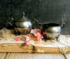 Vintage Silverplate Creamer and Sugar Set  by happenstanceNwhimsy