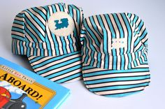 Sewing: Child's Engineer Cap (Tutorial from Aesthetic Nest)  gift with some kind of train toy and a whistle