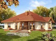 Casas Modern Bungalow House, Bungalow House Plans, Bedroom House Plans, Dream House Plans, Beautiful House Plans, Beautiful Small Homes, Small Modern Home, Village House Design, Village Houses