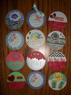 Christmas embellishments made from punched circles and decorated with my scraps