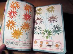 wreck this journal - make prints using cut vegetable stamps