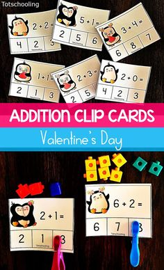 FREE printable addition clip cards for kindergarten kids. Fun math activity for Valentine's Day!