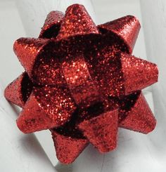 Red Glitter Bow Ring/Statement Ring/Holiday/Christmas