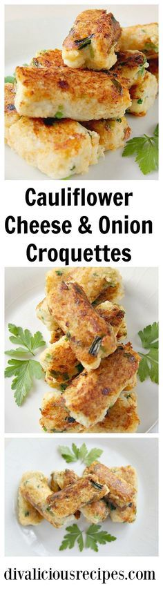 Cauliflower croquettes are a low carb alternative to potato croquettes and here I've added cheese and onion. They are also gluten free. Recipe: http://divaliciousrecipes.com/2017/01/12/cauliflower-cheese-onion-croquettes/