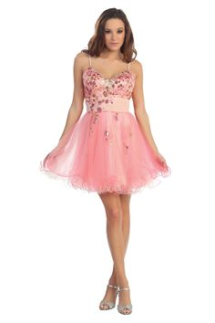 Lovely Homecoming Short Cocktail Fun Flirty Spaghetti Strap Prom Dress