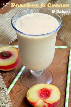 Skinny Peaches & Cream Milkshake | Perfect summer treat that won't make you feel guilty! | from willcookforsmiles.com