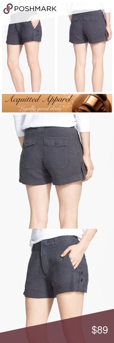 """(Vince.) NWT Linen Forge Grey Shorts  VINCE. linen Forge Shorts Details: Cool roll-tab hems and streamlined side-seam pockets refresh classic woven-linen shorts. - 4"""" inseam; 25"""" leg opening; 9 1/2"""" front rise; 14"""" back rise  - Zip fly with hook-and-bar closure - Back button-flap pockets - 100% linen Vince Shorts"""