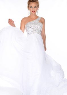 One Shoulder Beading Sequins Empire Chiffon White Floor Length Prom / Homecoming / Evening Dresses By Precious Formals 70090