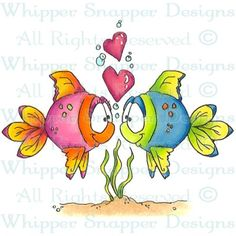 Tropical Love - Fish - Animals - Rubber Stamps