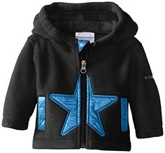Columbia Baby-Boys Infant Star Bright Fleece Full Zip Hoodie, Black/Hyper Blue, 12-18 Months