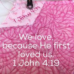 A little late night quilting. Still reflecting on today's message. #sundaysewing #1thessalonians411 and #1john419 #gettingreadyforvalentinesday #SewMyStash2016 #handguidedlongarmquilting