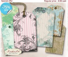 75% OFF SALE Flowers Background Tags  Digital by KristieArtDesign