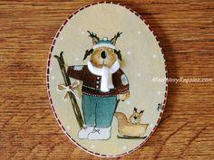 Placa infantil para puerta modelo esquiador con trineo. Pintado a mano sobre madera fina. http://www.mantelesyregalos.com/placas-para-puertas/3080-placa-infantil-para-puerta-esquiador-con-trineo.html