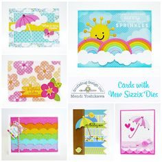 Forget your troubles, come on get happy with these colorful cards by Mendi Yoshikawa for the Sizzix and Doodlebug Design 15 Days of Summer Celebration!