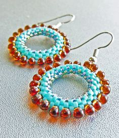 love the colors!!!!  Custom Turquoise Beadwoven earrings by MariaBeads, via Flickr