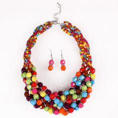 Fashion Candy Color Beads Chains Design Jewelry Set Exaggeration Women Ladies Earrings Necklace
