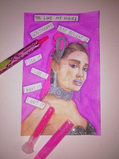 Comic painting of Ariana Grande - 7 Rings with glitters, Thank U Next, Sweetener Mixed Media Painting, Mixed Media Art, Ariana Grande Drawings, Glitter Paint, Thank U, Paper Dimensions, Beautiful Drawings, Watercolor Paintings, Watercolors