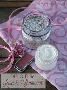 DIY Rose & Chamomile Gift Set - recipes for bath salts, lip balm and whipped hand cream