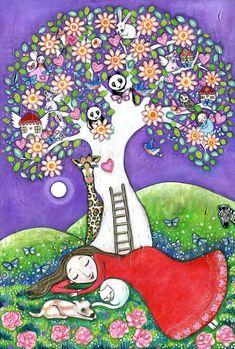 Dream Tree folk art painting womens wall art tree princess panda bear owl nursery decor whimsical kids room picture fairy painting    Title: Dream