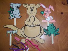 Kangaroo Story:  Why can't she hop? b/c of all the Kk items (keys, kool-aid pack, ketchup packet....) in her pouch.