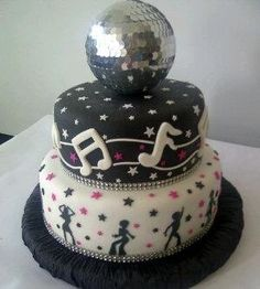 More dance party less disco Dance Party Birthday, 16 Birthday Cake, 70th Birthday Parties, 70s Party Decorations, Birthday Decorations, Disco Theme Parties, Disco Cake, Grease Party, Novelty Cakes
