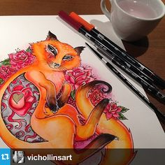 #tombow art by @vichollinsart on Instagram Tombow Usa, Tombow Dual Brush Pen, You Better Work, Marker Art, Adult Coloring, Hand Lettering, Markers, Create Yourself, Illustration Art