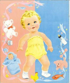 Doll Toys, Baby Dolls, Paper Toys, Paper Crafts, Paper Dolls Printable, Retro Baby, Baby Album, Bear Doll, Vintage Paper Dolls