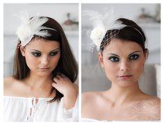 Braut Federn Fascinator Haarreif Creme Birdcage von Princess Mimi  auf DaWanda.com