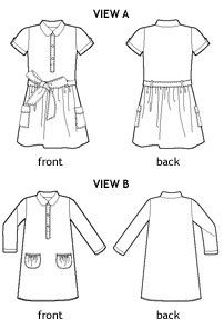 jump rope dress sewing pattern; view B, denim, point collar, view A pockets.