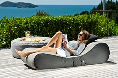 Bean bag lounger and ottoman from www.lujoliving.com