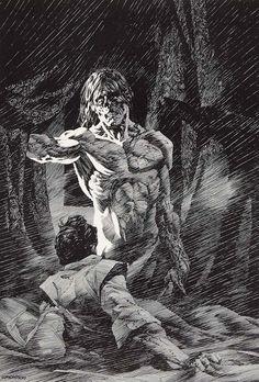ilustración de Bernie Wrightson para la novela Frankenstein, de Mary Shelley