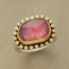 cool PINK COSMOS RING--Irregular facets span a luminous pink sapphire uni...