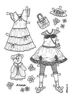 Karen`s Paper Dolls: Anna 1-6 Paper Doll to Print and Colour. Anna 1-6…