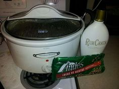 Crock Pot Hot Chocolate  Use two bags of chopped up Ande's mints, one bottle of Rum Chata, two small cans of sweetened condensed milk, one small carton of heavy whipping cream, and 4 cups of milk! Double to make a large pot. Just mix everything together, set on high for 2 hours stirring occasionally and then enjoy :)  Courtesy of Pinterest