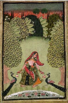 """Kakubha Ragini, Rajasthan, Bundi / Kota 18c.""""Kakuba-Ragini is that lonely woman with the anxiety that has been surprised by the voice of the cuckoo...[peacock]. Peacock's often one by one bird to both sides of Ragini, but there is also a case of one bird only or many. Sometimes the swan. With a flower in both hands, a charming pattern of beauty that in sad walk is surrounded by a beautiful and rich nature....."""":"""