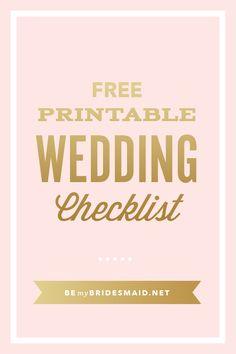 FREE Wedding Planning Printables & Checklists