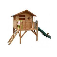 Outdoor-Childrens-Wooden-Wendy-Playhouse-Pedestal-Slide-Climbing-Frame-Veranda