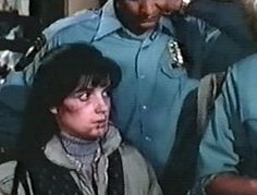 """Dominique on """"Hill Street Blues"""" -- the makeup department did NOT need to make her look like an abused woman. Her injuries were real, courtesy of John Sweeney. Creepy Pictures, Tv Guide, Classic Tv, True Crime, Tv Shows, Hollywood, Memories, Street, Blues"""