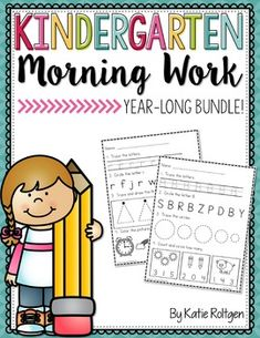 Kindergarten Morning Work BUNDLE! With this download you get Kindergarten Morning Work Packs with student friendly printable worksheet pages that require NO PREP. The routine of these seat work pages will ensure your kinders practice with the alphabet, numbers, shapes, first sounds, and more. They get progressively more difficult throughout the year from September to June. Click to grab them now!